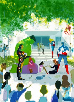 Cover image for Avengers: No More Bullying #1 courtesy of Marvel Comics in Yes! magazine, and retrieved from http://www.yesmagazine.org/happiness/superheroes-fight-against-bullying-in-new-comic-book-to-be-released-by-marvel?utm_source=YTW&utm_medium=Email&utm_campaign=20141031